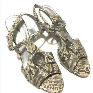 E. 5th Snake Print Vegan Leather Sandal Heels